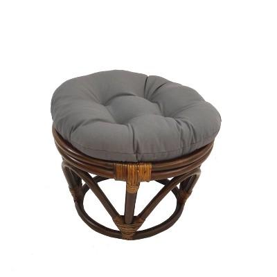 Rattan Footstool with Twill Cushion - International Caravan
