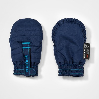 Baby Girls' Igloos Quilted Ski Mitten - Dark Blue 12-24M