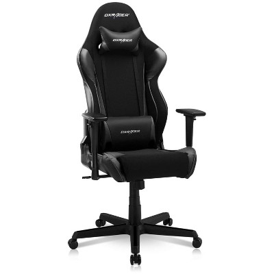 DXRacer OH/RAA106/NR Racing Series Adjustable Ergonomic Gaming Home Office Desk Chair with Lumbar Support, Swivel Base, Wheels, and Headrest, Black