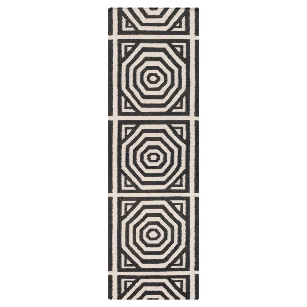 Surya 2'6 X 8' Solid Flatweave Woven Runner Charcoal (Grey)