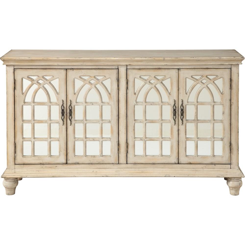 Bordeau Cathedral 4 Door Media Credenza Cream (Ivory) - Treasure Trove