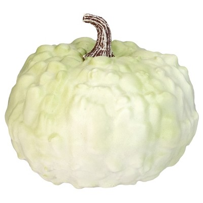 "Northlight 7.5"" White Textured Pumpkin Fall Halloween Statue"