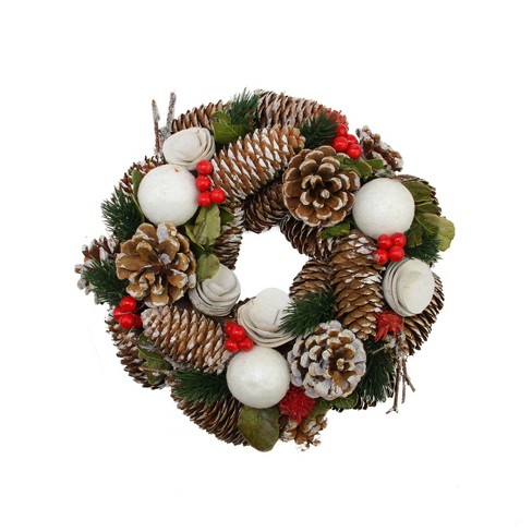 """Northlight 10"""" Unlit Frosted Pine Cone, Twigs and Berries Artificial Christmas Wreath - image 1 of 1"""