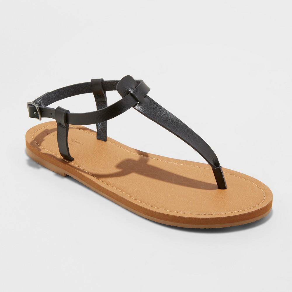 Women's Hartley T Strap Thong Sandals - Universal Thread Black 5.5
