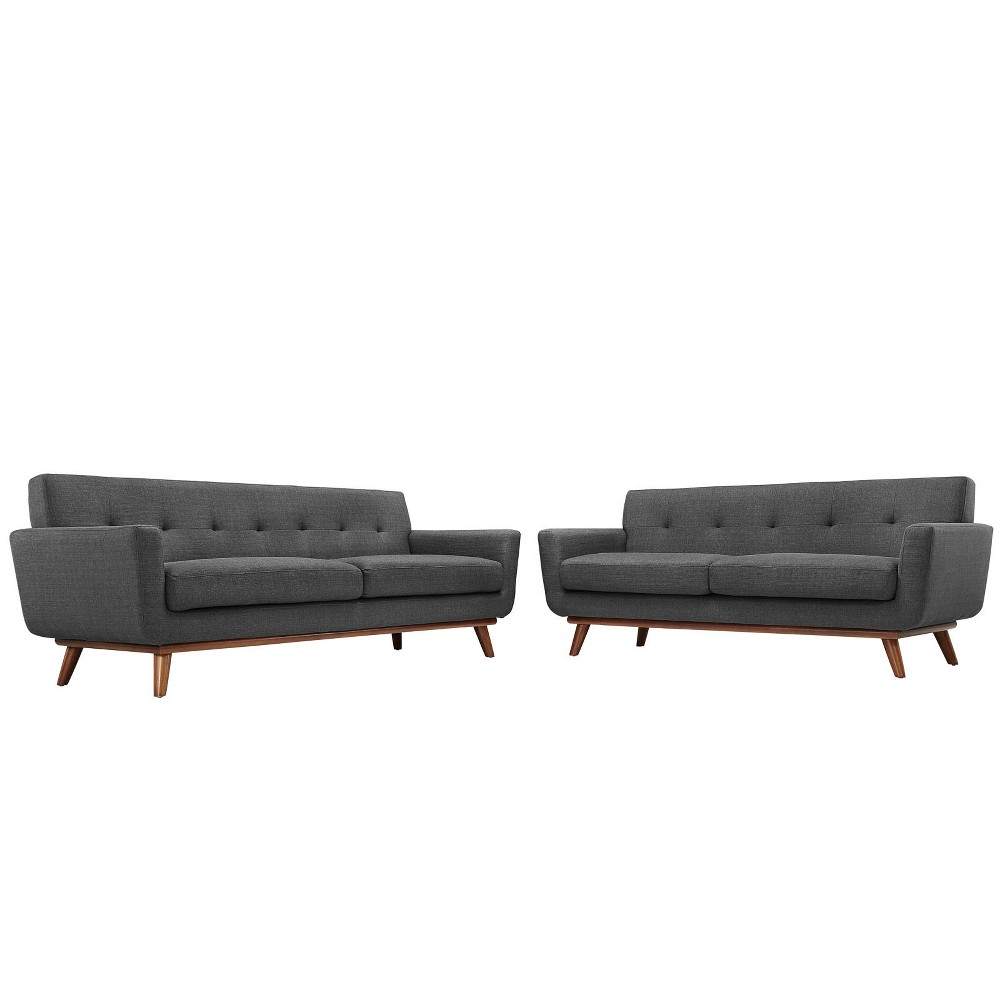 Engage Loveseat and Sofa Set of 2 Gray - Modway