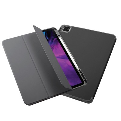 """Insten - Soft TPU Tablet Case For iPad Pro 12.9"""" 2020, Multifold Stand, Magnetic Cover Auto Sleep/Wake, Pencil Charging, Pure Black"""