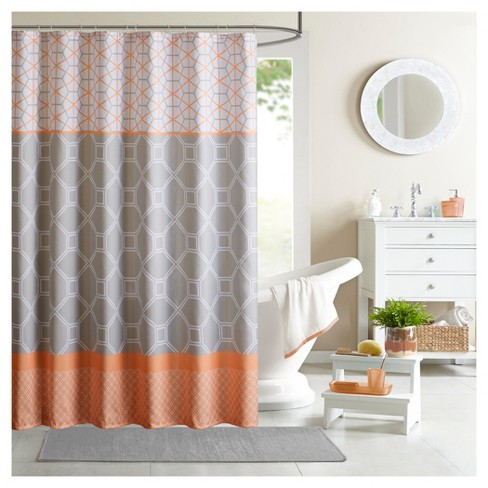 Sarah Geometric Printed Microfiber Shower Curtain Target