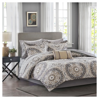 Taupe Nepal Medallion Complete Multiple Piece Comforter Set (Queen)- 9 Piece