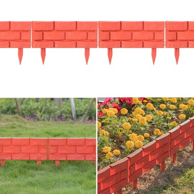 Gardenised Outdoor Brick Stone Gate Lawn Edging Pack of 8, Red