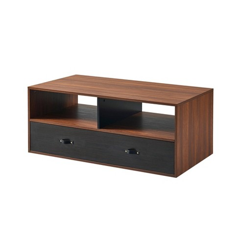 Henry Coffee Table with Faux Leather Handle Black - Versanora - image 1 of 4
