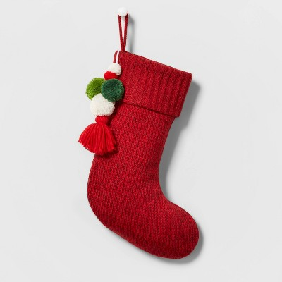 Marled Knit Christmas Stocking with Poms Red - Wondershop™