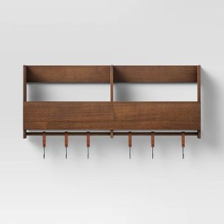 """24"""" x 10"""" Wooden Shelf with S Leather/Hooks - Threshold™"""