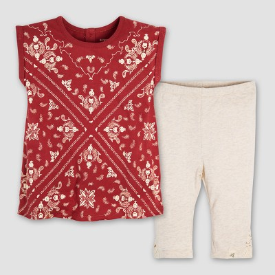 Burt's Bees Baby® Girls' Organic Cotton Bandana Tunic and Crochet Capri Leggings Set - Red 0-3M