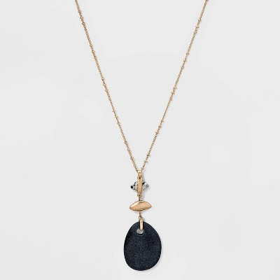 Organic Shape Semi-Precious Dalmatian Jasper Pendant Necklace - Universal Thread™ Black