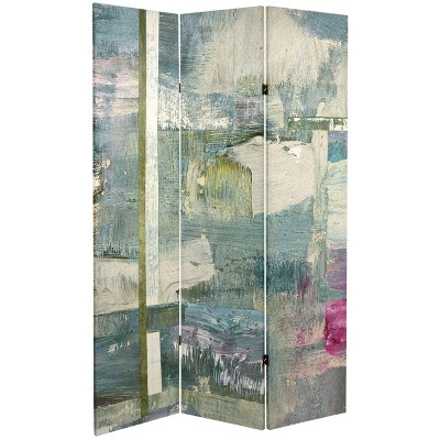 """6"""" Double Sided Mineral Smoke Canvas Room Divider Gray - Oriental Furniture"""