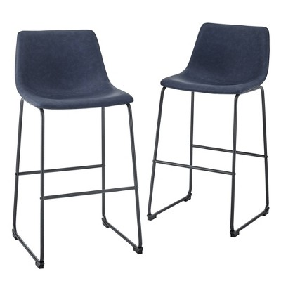 Set of 2 Urban Faux Leather Bar Stools Navy Blue - Saracina Home