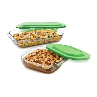 Libbey Baker's Basics 2pc Glass Bake Dish Set with 2 Plastic Lids Value Pack