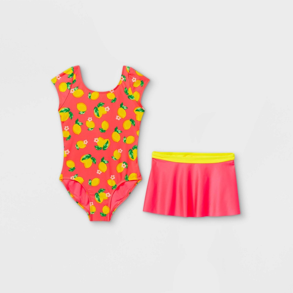 Girls 39 Lemon Print One Piece Swimsuit Set With Skirt Cat 38 Jack 8482 Pink Xs