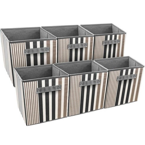 Sorbus 6pk Foldable Storage Cube Basket Bin Vertical Stripe Line Pattern Black - image 1 of 3