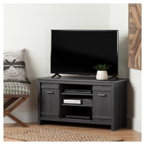 Exhibit Corner Tv Stand For Tvs Up To 42 Gray Oak South Shore