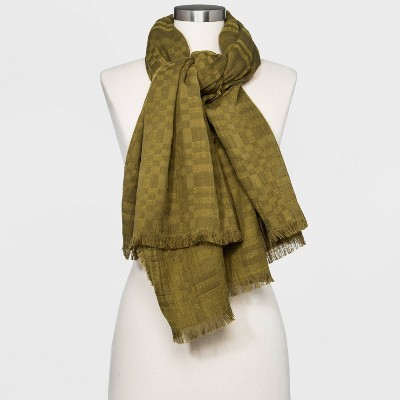 Women's Plaid Oversized Square Scarf - Universal Thread™ Olive Green