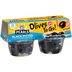 Pearls Olives To Go Black Pitted Olives - 4.8oz/4pk