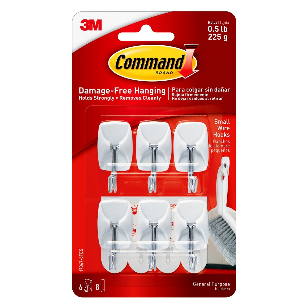 Command Small Wire Hooks Value Pack, 6/pk, White