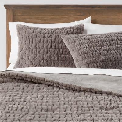 Ruched Faux Fur Comforter & Sham Set - Threshold&#153