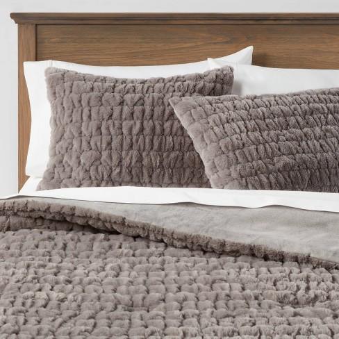 Ruched Faux Fur Comforter & Sham Set - Threshold&#153 - image 1 of 4