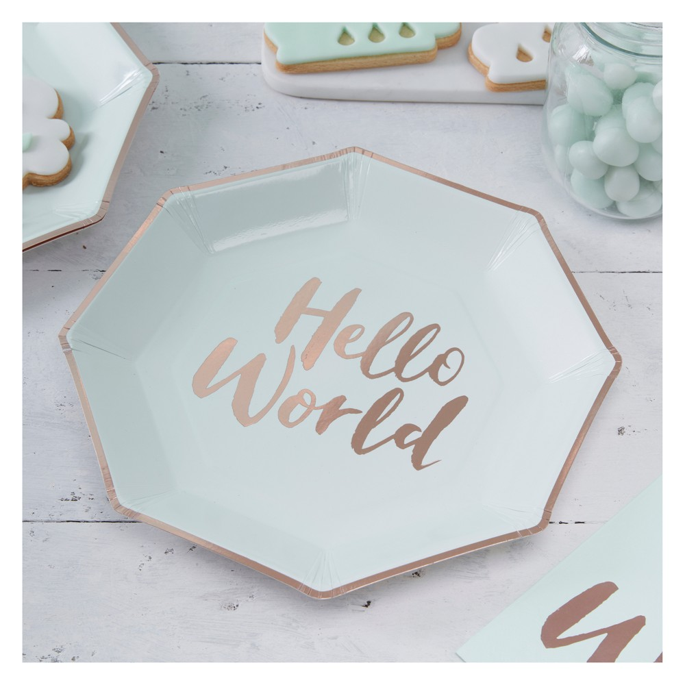 """Image of """"8ct """"""""Hello World"""""""" Paper Plates Teal"""""""