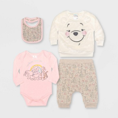 Baby Girls' 4pc Winnie the Pooh Fleece Pullover and Jogger Set - Beige