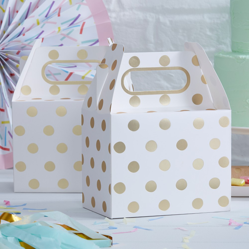 Image of 5ct Polka Dot Party Boxes, White Gold
