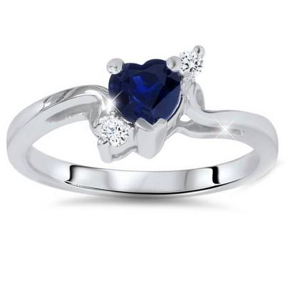 Pompeii3 1/3ct Blue Heart Sapphire Diamond Ring 14K White Gold