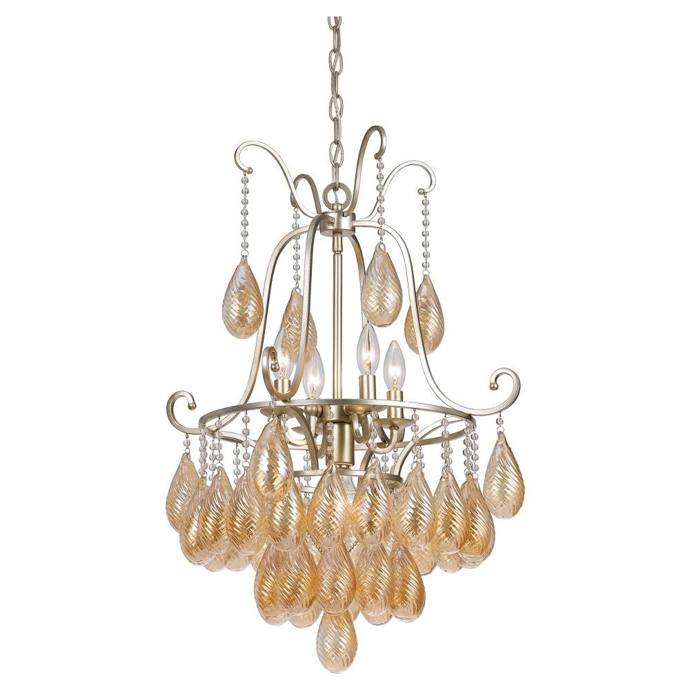 Cal Lighting's Marion Metal & glass chandelier, Silver