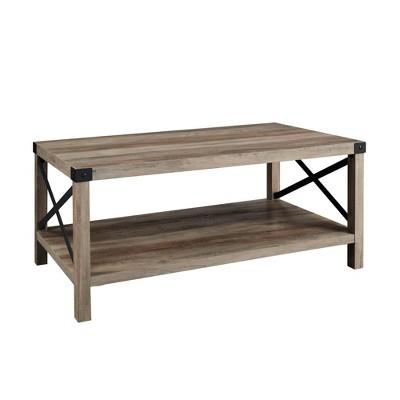 "40"" Rustic Farmhouse X Side Coffee Table Gray Wash - Saracina Home"