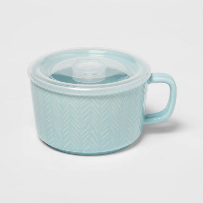 17.6oz Stoneware Cable Knit Soup Mug Teal - Threshold™
