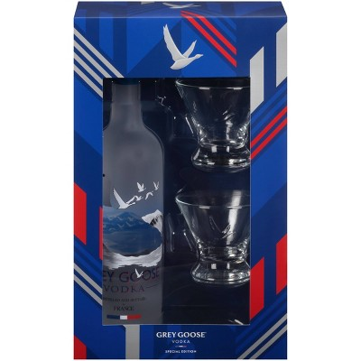 Gray Goose Vodka Holiday Gift Set - 750ml Bottle with Stemless Martini Glasses