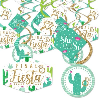 Big Dot of Happiness Final Fiesta - Last Fiesta Bachelorette Party Hanging Decor - Party Decoration Swirls - Set of 40
