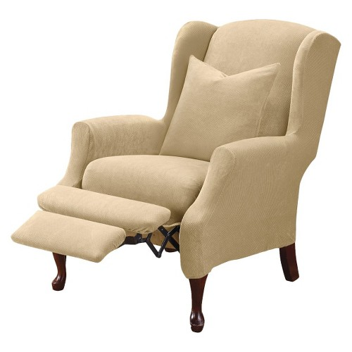 Cream Stretch Pique Slipcover Cream Wing Recliner - Sure Fit, Ivory