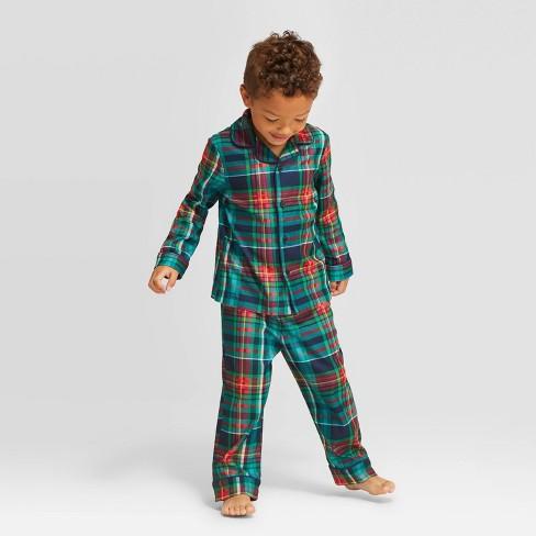 Toddler Plaid Holiday Tartan Pajama Set - Wondershop™ Blue - image 1 of 3
