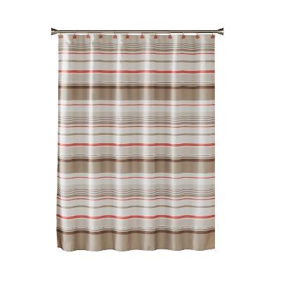 Coral Garden Stripe Shower Curtain Tan - Saturday Knight Ltd.