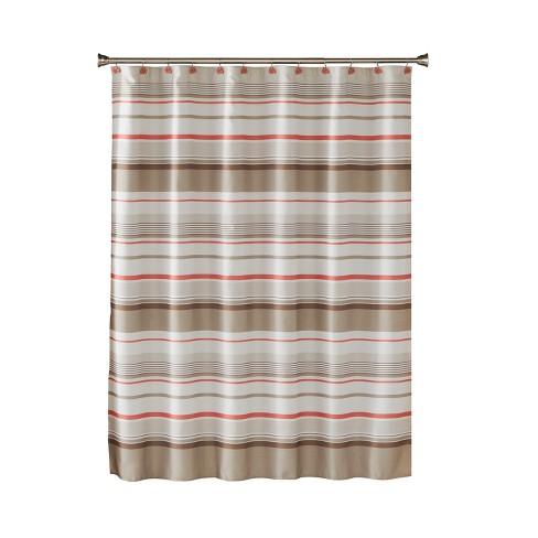 Coral Garden Stripe Shower Curtain Tan