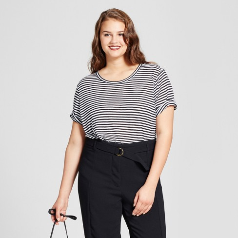 38f82d0f Women's Plus Size Rib Trim Elbow Sleeve T-Shirt - Who What Wear™  Black/White 2X : Target