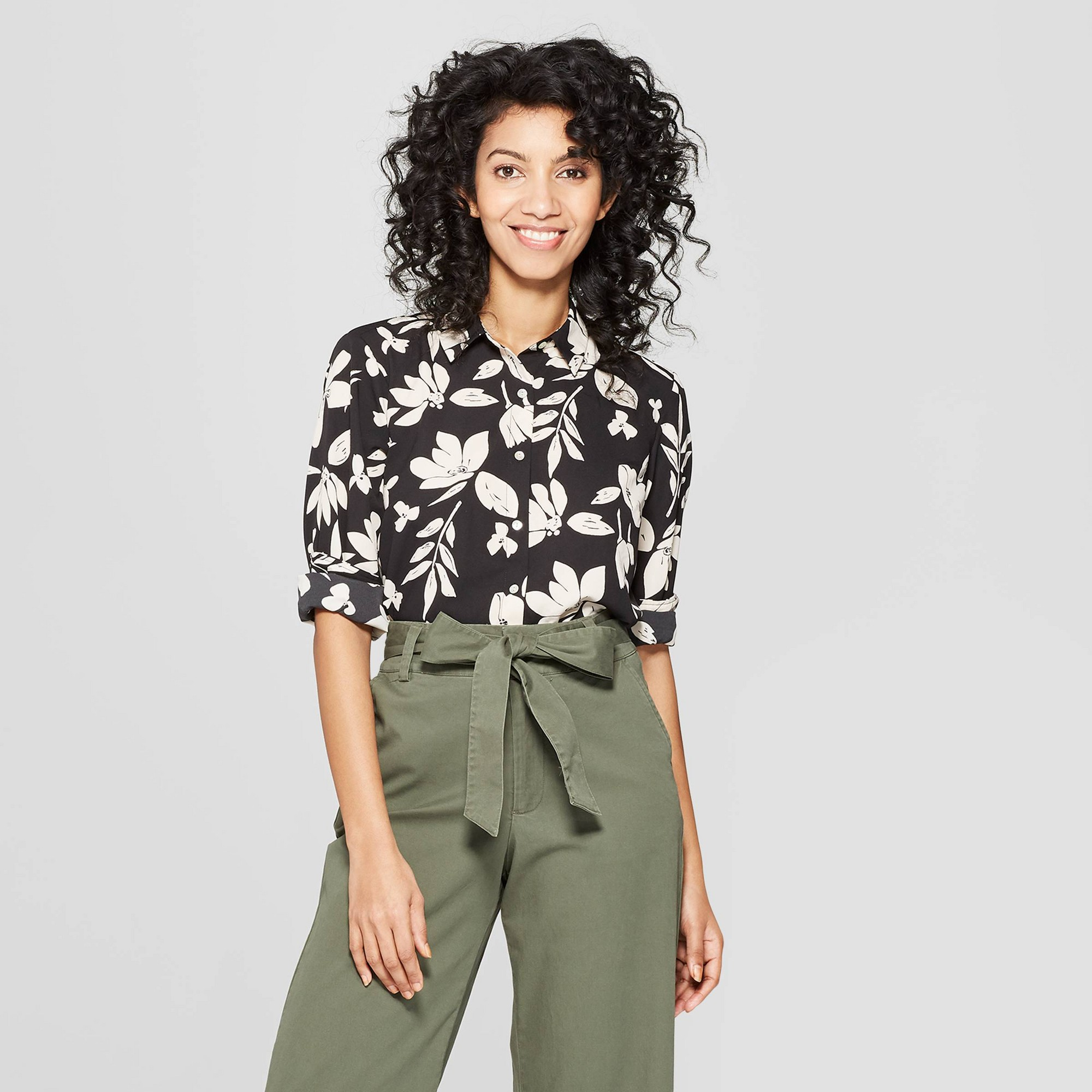 Women's Floral Print Long Sleeve Collared Crepe Blouse - A New Day Black Xxl