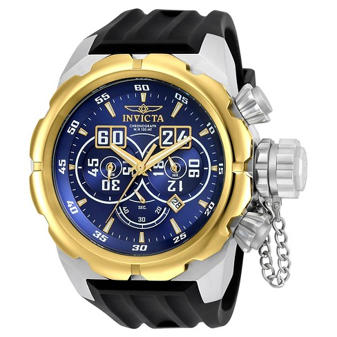 Men's Invicta 21630 Russian Diver Quartz Multifunction Blue and Gold Dial Strap Watch - Black - image 1 of 1