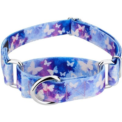 Country Brook Petz® Watercolor Butterflies Martingale Dog Collar