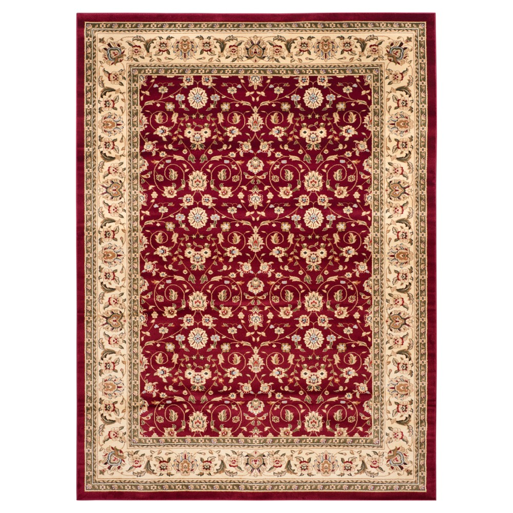 Floral Area Rug Red/Ivory