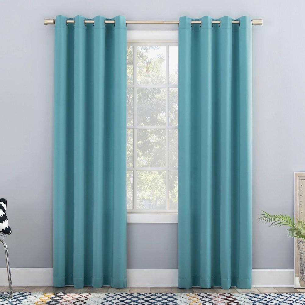 "95""x54"" Seymour Energy Efficient Room Darkening Grommet Curtain Panel Surf - Sun Zero"