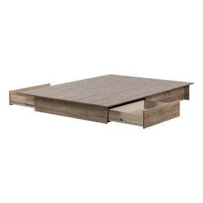 Full/Queen Step One Platform Bed Weathered Oak - South Shore