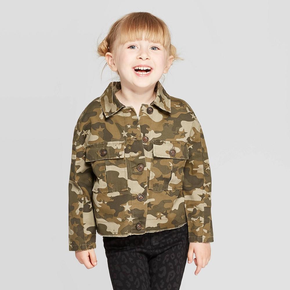 Toddler Girls' Bomber Jacket – art class Camouflage 18M, Toddler Girl's, Green